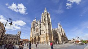 People walking near Leon Cathedral stock footage