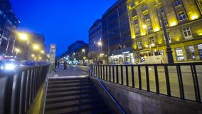 People walking near the tram stop in Budapest city stock video footage
