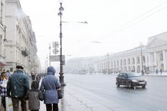 Snowstorm in Saint-Petersburg Stock Photo
