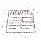 People walking in Newspaper, news .3D illustration. From above people walking and standing in Newspaper, news emblem isolated on white.3D illustration. 3D Royalty Free Stock Photography