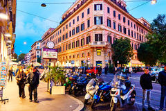 People walking the night streets of Rome Royalty Free Stock Photography