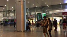 People walking at Noi Bai International Airport stock video footage