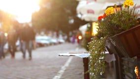 People walking by the old Krakow streets: unfocused footage stock video footage