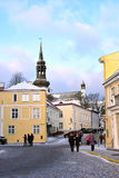 People are walking in old part of city inTallinn. Stock Photography