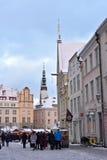 People walking in old part of Tallinn. Royalty Free Stock Photos