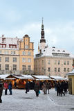 People walking in old part of Tallinn. Royalty Free Stock Photography