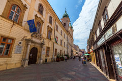 People walking on the old street in city PECS, HUNGARY - SEPTEMB Royalty Free Stock Image