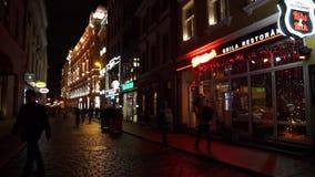 People walking in old town stock footage