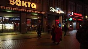 People walking in old town stock video footage