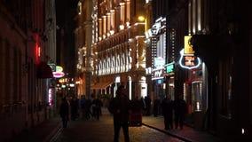 People walking in old town stock video