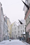 People are walking in old town in Tallinn. Stock Photography