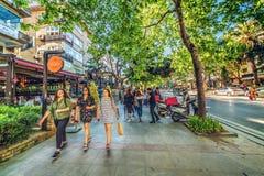 Free People Walking On Bagdat Avenue Turkish: Bagdat Caddesi Royalty Free Stock Photo - 124410845
