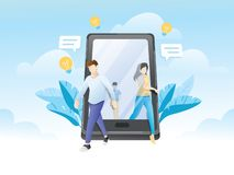 Free People Walking Out Of Giant Smartphone Royalty Free Stock Photos - 159513868