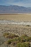 People walking out onto salt flats in Death Valley. Groups of people traveling and visiting are walking out to the salt flats at Bad Water in Death Valley Royalty Free Stock Photography