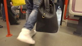 People Walking out of the Train at the Station. Low angle view stock video footage