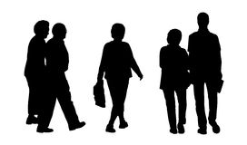 People walking outdoor silhouettes set 2 Royalty Free Stock Photo