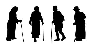 People walking outdoor silhouettes set 15. Black silhouettes of old people walking with a stick, front and profile views Royalty Free Stock Photo