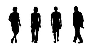 People walking outdoor silhouettes set 14 Stock Photos