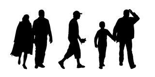 People walking outdoor silhouettes set 10. Black silhouettes of ordinary men of different ages in couple and with children walking outdoor; front and profile Stock Images