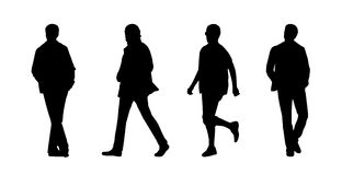 People walking outdoor silhouettes set 12 Stock Photos