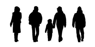People walking outdoor silhouettes set 6 Royalty Free Stock Photo