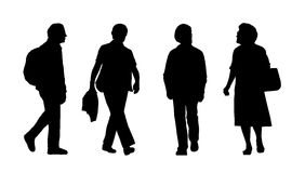 People walking outdoor silhouettes set 25 Stock Images