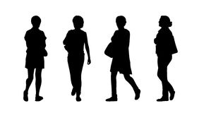 People walking outdoor silhouettes set 29. Silhouettes of ordinary women of different age walking outdoor, front, back and profile views Stock Images