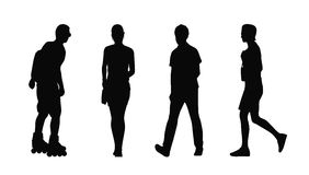 People walking outdoor silhouettes set 37 Royalty Free Stock Image