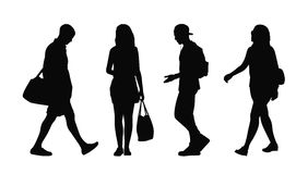 People walking outdoor silhouettes set 38 Stock Photography
