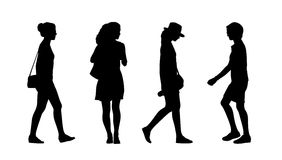 People walking outdoor silhouettes set 33 Royalty Free Stock Photo