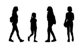People walking outdoor silhouettes set 23 Stock Photo