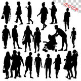 People Walking Outdoor Silhouettes Set vector. Illustration Royalty Free Stock Photos