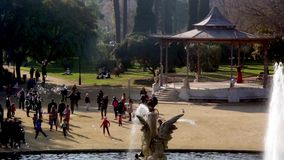People walking in a park of Barcelona stock footage