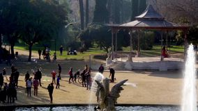 People walking in a park of Barcelona.Time Lapse stock video