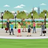people walking park city background vector illustration