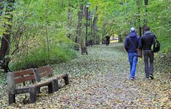 People are walking in park of Warsaw,Poland Royalty Free Stock Photo