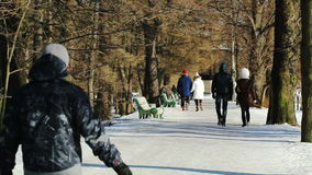 People walking in the park. In winter stock video footage