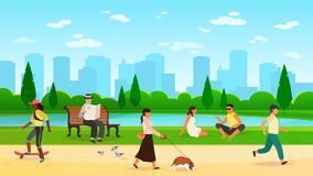 People walking park. Women men activity outdoors sport group running community fun walk nature cartoon lifestyle vector vector illustration