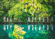 Many tourists in Plitvice park royalty free stock photo