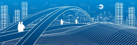 People walking at pedestrian bridge. City skyline. Modern night town. Infrastructure illustration, urban scene. White lines on blu vector illustration