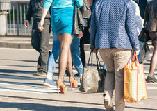 People walking on a pedestrian crossing royalty free stock photo