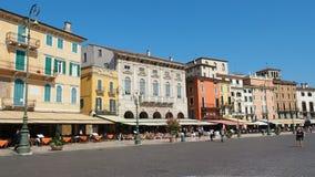 People walking in piazza bra main square of Verona stock video footage