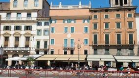 People walking piazza bra Verona Italy stock video footage