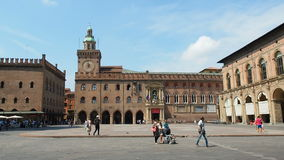 People walking at piazza maggiore Bologna, Italy stock video