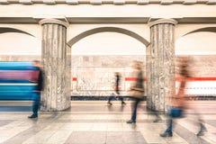 People walking on platform of underground subway metro station Stock Photos