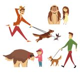 People walking and playing with their dogs set, ute pets with their owners cartoon vector Illustrations Royalty Free Stock Images