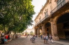 People walking in Plaza de Armas in Old Havana stock image