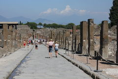 People walking in Pompei Stock Photography
