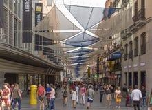 People walking on Preciados street, in Madrid, Spain stock images