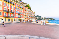 People walking by the Promedade des Anglais, Nice, France Royalty Free Stock Photo